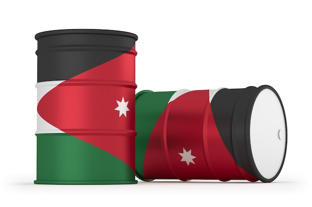 Barris de bandeira com estilo de óleo da jordânia isolados