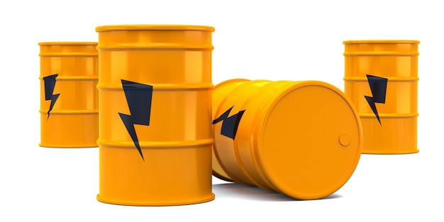 Barris de óleo de energia amarelo poder isolados no branco