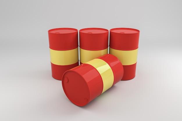 Barris de óleo de metal .3d rander