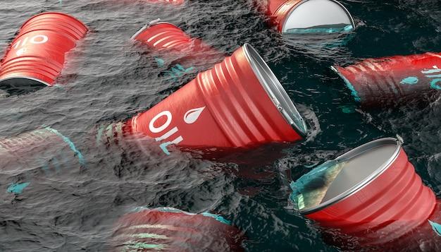 Barris de óleo flutuando no mar.