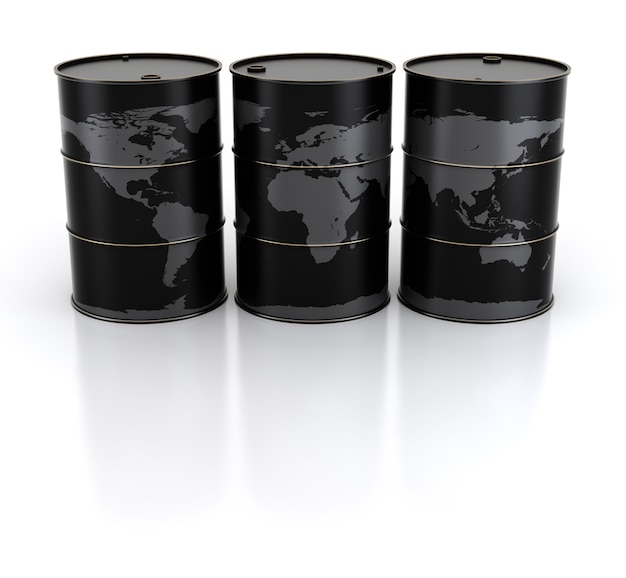 Barris de terra e petróleo. renderização 3d