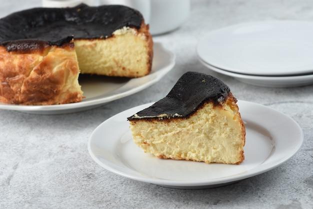Basco queimado cheesecake queimado basco espanhol foodwhite fundo