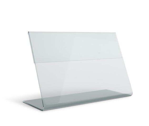 Base de triângulo de suporte de menu transparente em acrílico isolada com caminhos de trabalho, caminhos de recorte incluídos