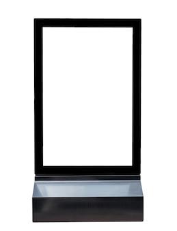 Base preta assina publicidade de alumínio quadrado