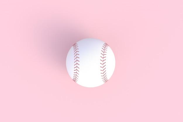 Basebol isolado no fundo rosa, renderização em 3d