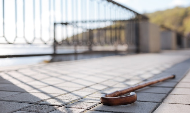 Bastão profissional de madeira abandonado chafurdando no chão