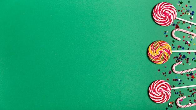 Bastões de doces com espaço de cópia