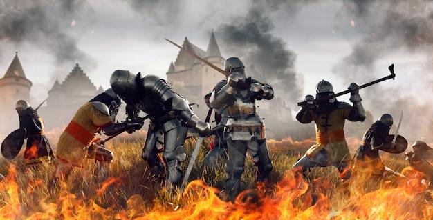 Batalha medieval de cavaleiros em armaduras e capacetes com espadas e machados, grande combate. antigos guerreiros blindados contra o castelo