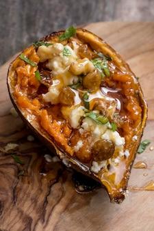 Batata-doce deliciosa de alto ângulo