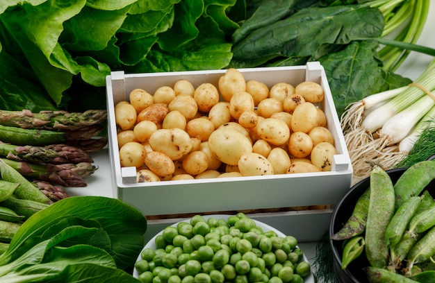 Batatas com vagens verdes, ervilhas, endro, cebolinha, espinafre, azeda, alface, aspargos em uma caixa de madeira na parede branca, vista de alto ângulo.