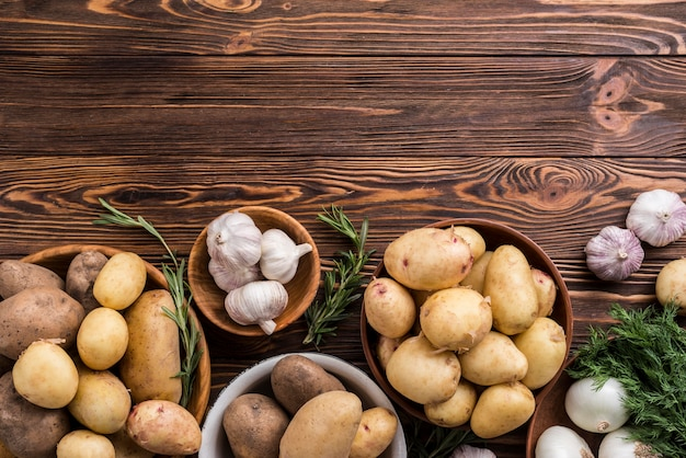 Batatas e alho