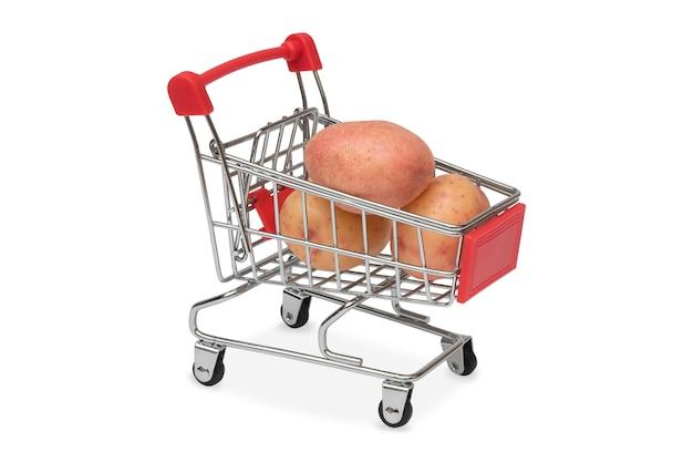 Batatas em um carrinho de supermercado