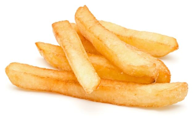 Batatas fritas francesas isoladas no fundo branco