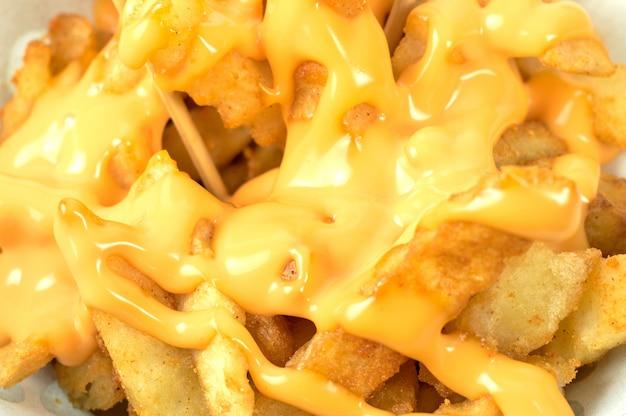 Batatas fritas saborosas com molho de queijo