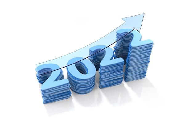 Bate-papo da barra de crescimento do ano 2022. ilustração 3d