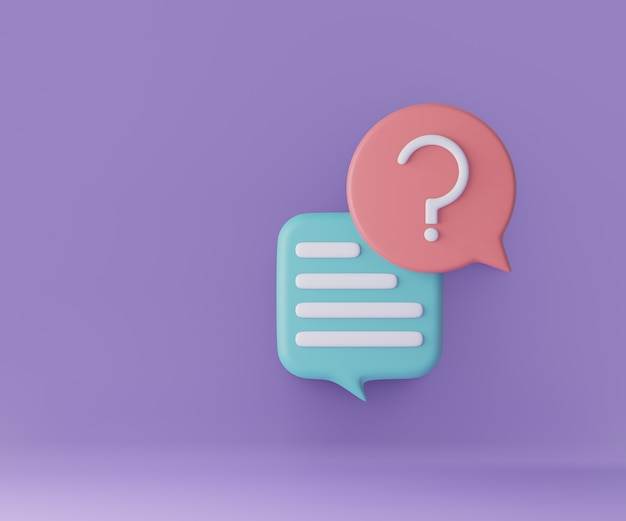 Bate-papo da bolha do ícone 3d com ponto de interrogação no fundo roxo. renderização de ilustração 3d.