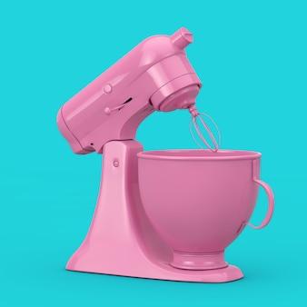 Batedeira de cozinha rosa em estilo duotone em um fundo azul. renderização 3d