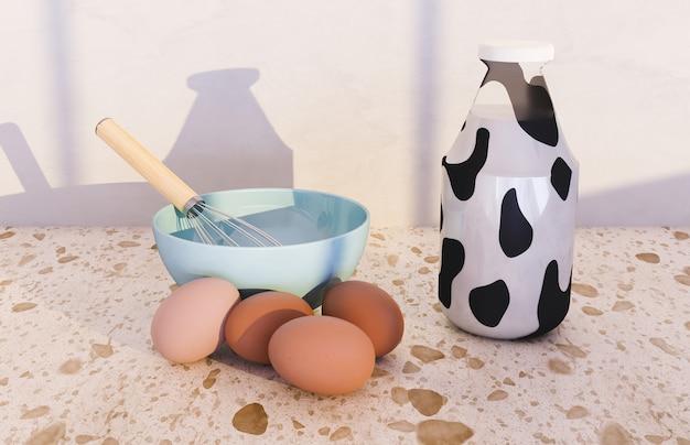 Batedeira em uma tigela com ovos ao redor e garrafa de leite com estampa de vaca