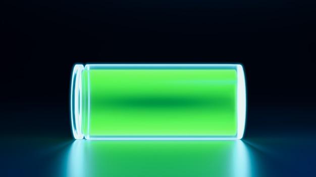 Bateria 3d totalmente carregada, recarga de dispositivo smartphone com néon brilhante, ilustração do conceito de tecnologia de energia e energia