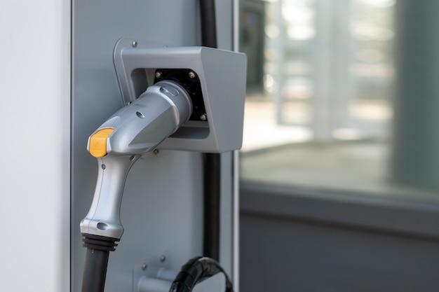 Bateria de carregador closeup para carro elétrico