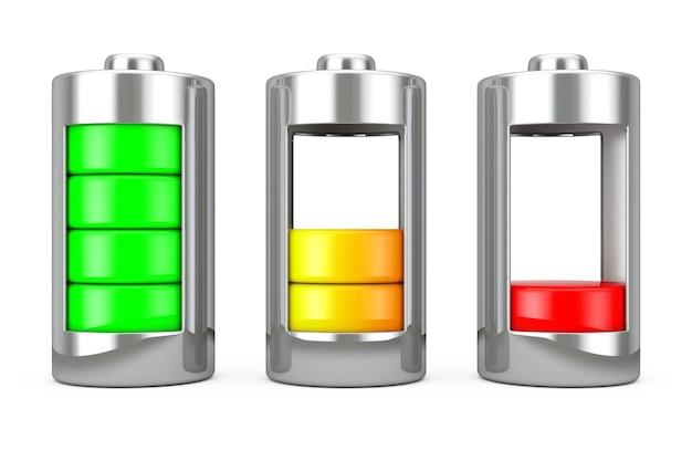 Bateria de carregamento abstrata com níveis de carga em um fundo branco. renderização 3d