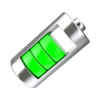 Bateria de carregamento abstrata com nível de carga verde sobre um fundo branco. renderização 3d