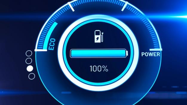 Bateria de carro elétrico em carregamento ativo do painel do visionário Foto Premium