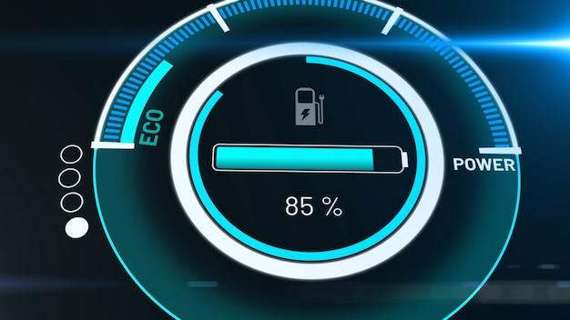 Bateria de carro elétrico em carregamento ativo do painel do visionário