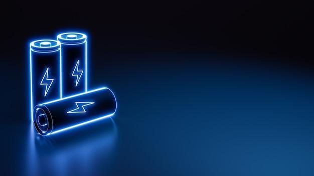 Bateria de íon de lítio de néon de carga rápida 3d brilhando no chão com símbolo de iluminação, flash digital futurista, fonte de energia de recarga rápida e fundo de ilustração de conceito de tecnologia de energia
