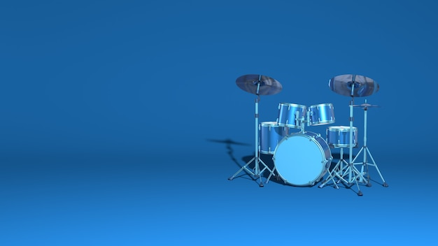 Bateria pop rock moderna definir renderização em 3d