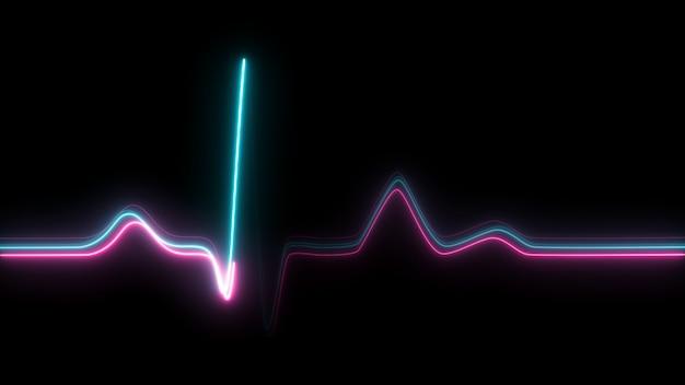 Batimento cardíaco de néon em fundo preto isolado