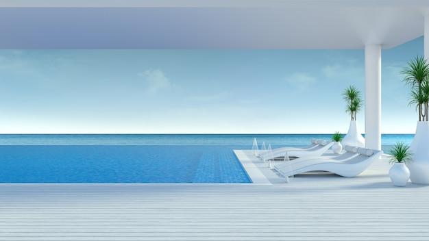 Beach lounge, espreguiçadeiras no deck para banhos de sol e piscina privada em luxo villa / renderização em 3d