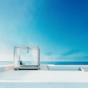 Beach lounge - ocean villa beira-mar e vista para o mar para férias e verão / 3d render ao ar livre