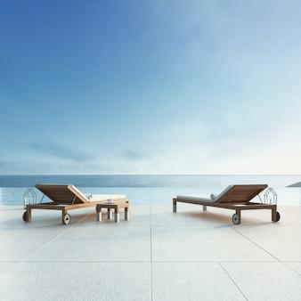 Beach lounge - villa oceano com piscina e vista para o mar / 3d render