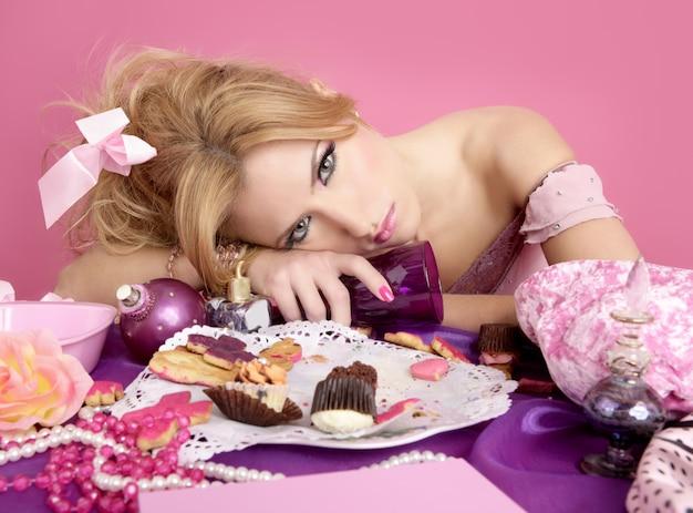 Bêbado festa princesa barbie rosa moda mulher