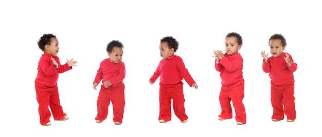 Bebê africano engraçado isolado no fundo branco