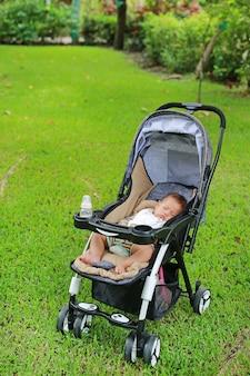 Bebé asiático que dorme no carrinho de criança no parque natural.