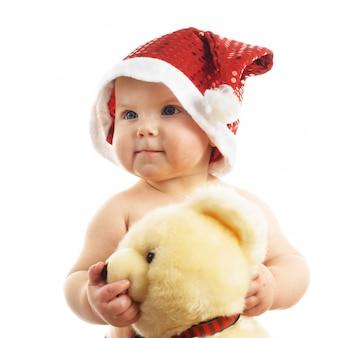 Bebê com chapéu de papai noel