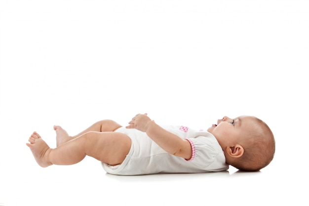 Bebê deitado de costas
