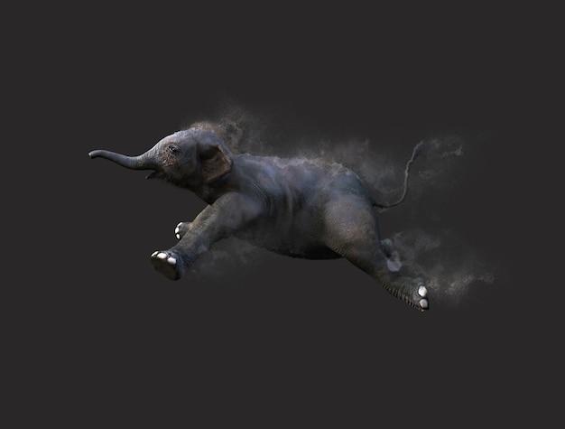 Bebê elefante movendo e pulando com efeito de partículas de poeira no fundo cinza