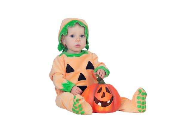 Bebê loiro em fato de abóbora