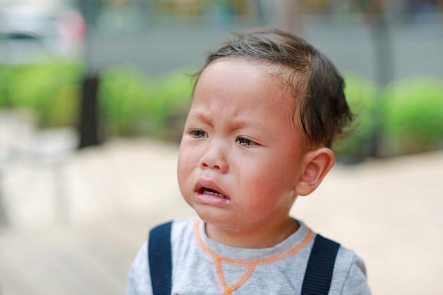 Bebé pequeno do close-up do retrato que grita e que olha para fora.