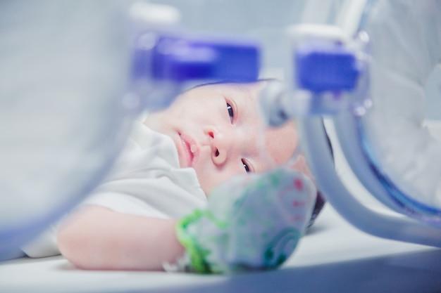 Bebé recém-nascido coberto no vertix dentro da incubadora.