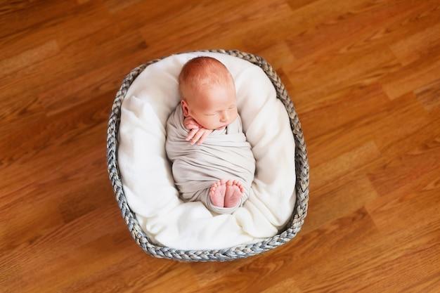 Bebê recém-nascido dormindo em uma cesta
