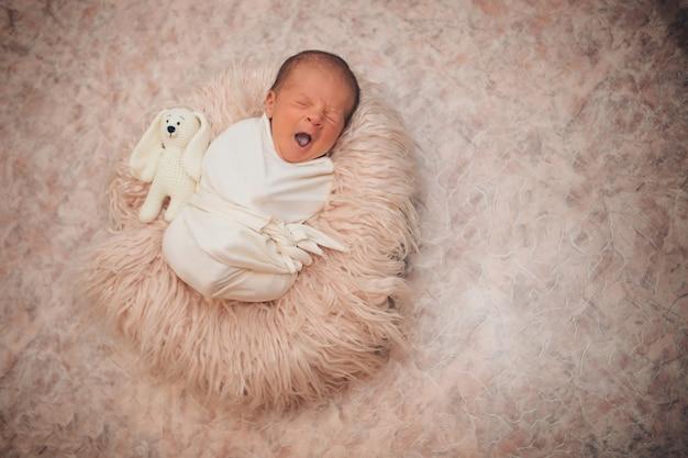 Bebê recém-nascido embrulhado em um cobertor, dormindo em uma cesta.