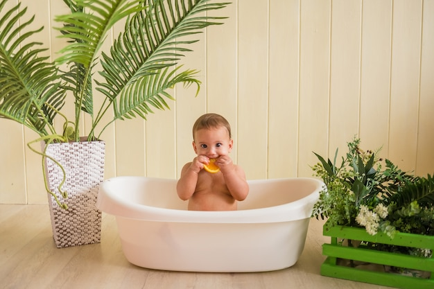Bebê surpreso sentado na banheira e comendo uma laranja em uma parede de madeira
