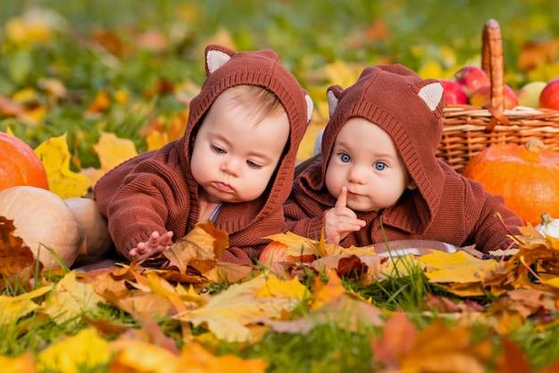 Bebês gêmeos em jaquetas com orelhas de gatinho no parque