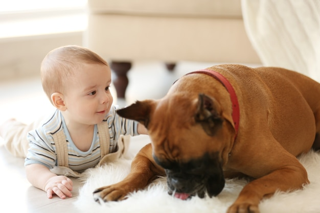 Bebezinho com cão boxer deitado em casa