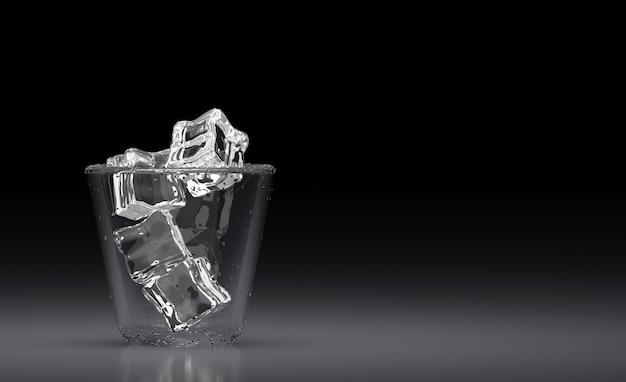 Bebida. copo de água fria e clara com cubo de gelo e palha em fundo escuro. 3d render.