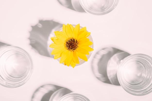 Bebida de água limpa fresca com flor amarela em vidro na mesa branca